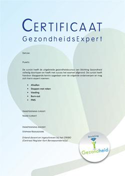 Het certificaat GezondheidsExpert van Stichting Gezondheid