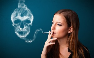 Young woman smoking dangerous cigarette with toxic skull smoke