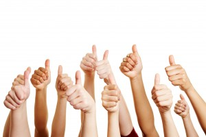 People congratulate and holding thumbs up