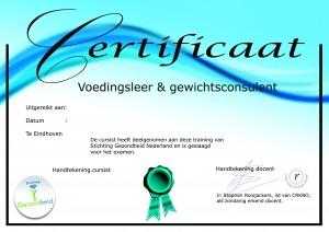 certificaat, voedingsexpert, gewichtsconsulent, cursus gewichtsconsulent